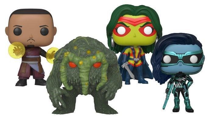 Wong, Gamora, Minn-Erva, Man-Thing, Funko Pop, Marvel, San Diego Comic-Con, SDCC, 2019